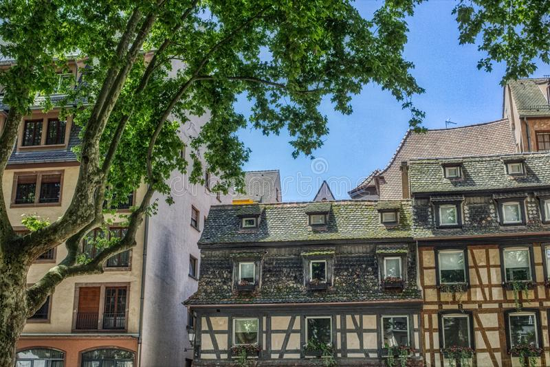 Half timbered houses of the old town of Strasbourg stock photography