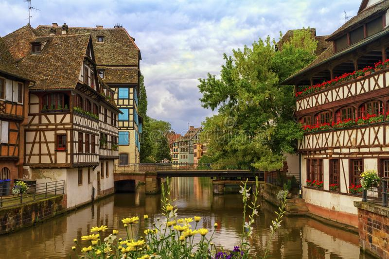 Half-timbered houses in Petite France, Strasbourg, France. Traditional Alsatian half-timbered houses in Petite France, Strasbourg, France royalty free stock photos