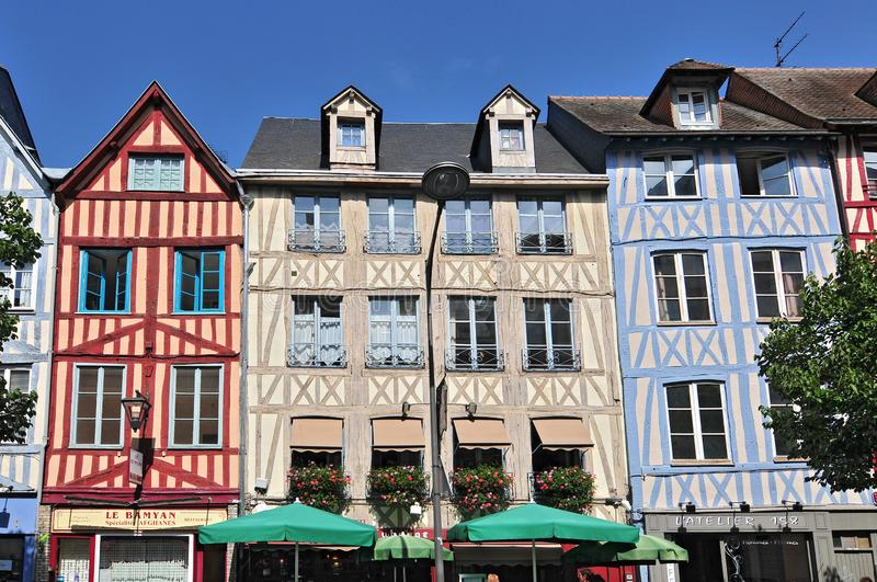 Half Timbered Houses in Rouen Normandy France.  stock photo