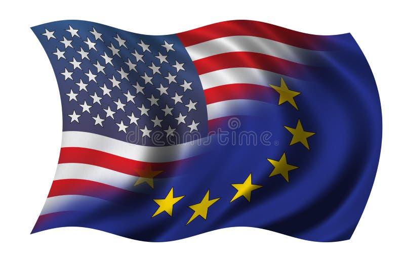Half US - Half EU vector illustration