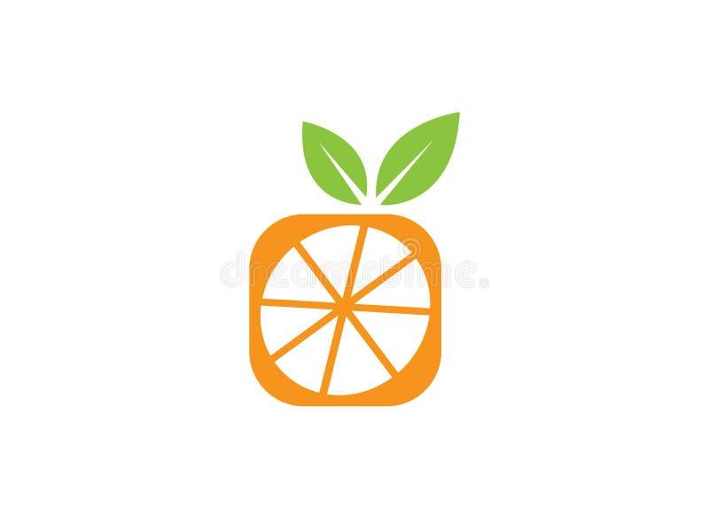 Half vierkante sinaasappel voor de illustratie van het embleemontwerp op witte achtergrond vector illustratie