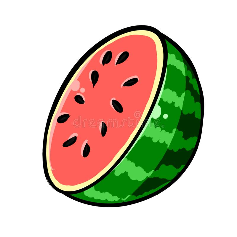 Hand-Drawn Half Watermelon Illustration Clipart stock images