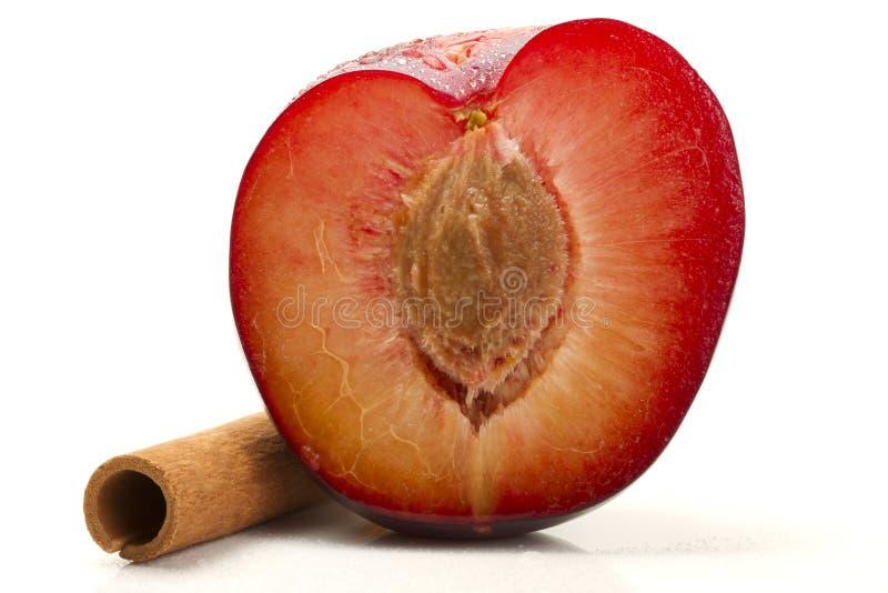 Half wet plum with a cinnamon stick stock photo