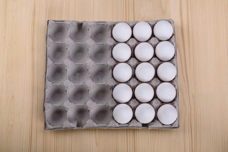 Half white chicken eggs royalty free stock photo