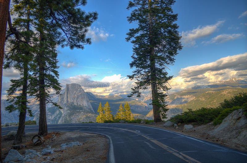 Halfdome from Glacier point road. Yosemite national park, CA royalty free stock photos
