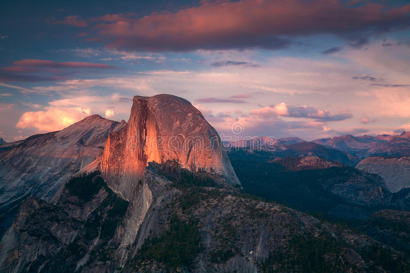 Halfdome Sunset Yosemite California. Yosemite National Park is in the California Sierra Nevada mountains royalty free stock photos
