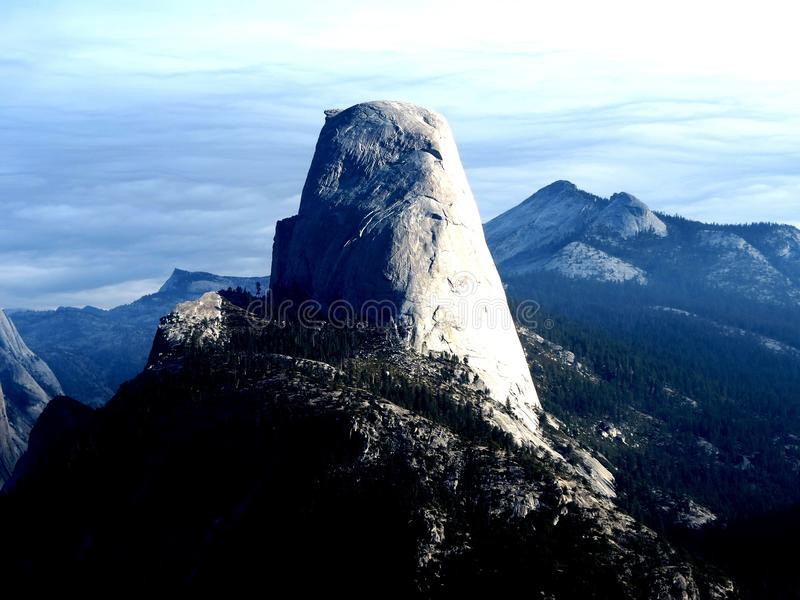Halfdome. View of HalfDome from trail in Yosemite National Forest stock image