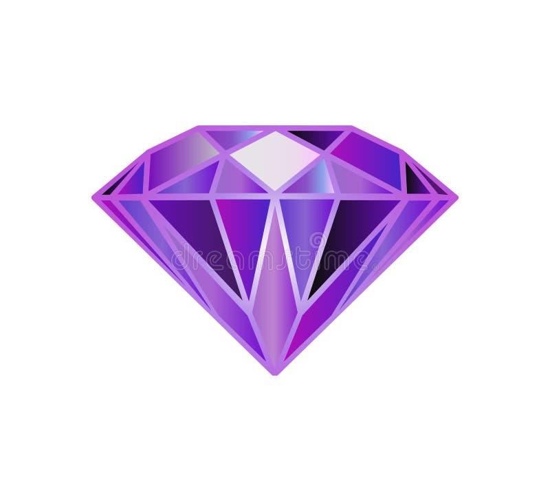 Halfedelsteen, diamant Veelhoekige vectordiamanten royalty-vrije illustratie