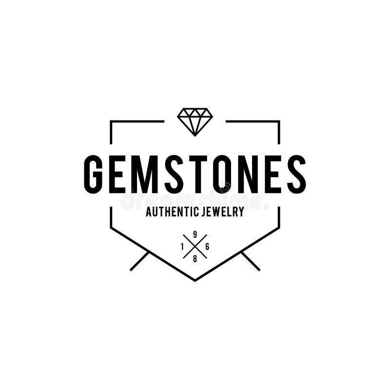 Halfedelsteen en Diamanten Uitstekend etiket Vector illustratie stock illustratie