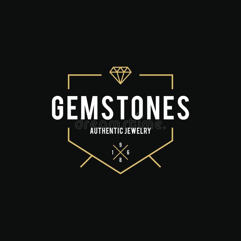 Halfedelsteen en Diamanten Uitstekend etiket Vector illustratie royalty-vrije illustratie