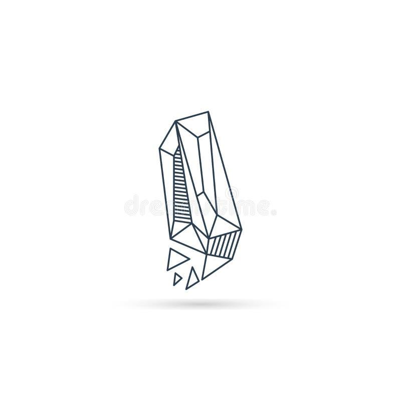 halfedelsteenbrief i van het het pictogrammalplaatje van het embleemontwerp het vector geïsoleerde element royalty-vrije illustratie