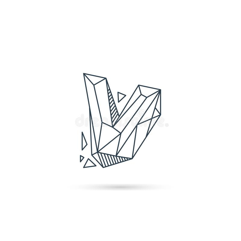 halfedelsteenbrief v van het het pictogrammalplaatje van het embleemontwerp het vector geïsoleerde element stock illustratie