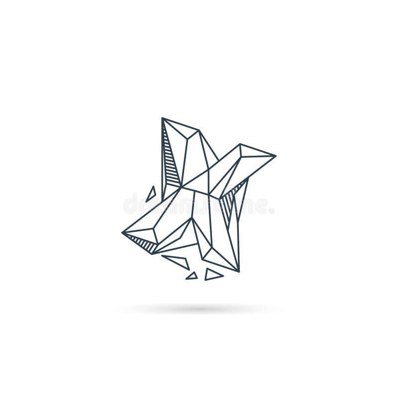 halfedelsteenbrief x van het het pictogrammalplaatje van het embleemontwerp het vector geïsoleerde element stock illustratie