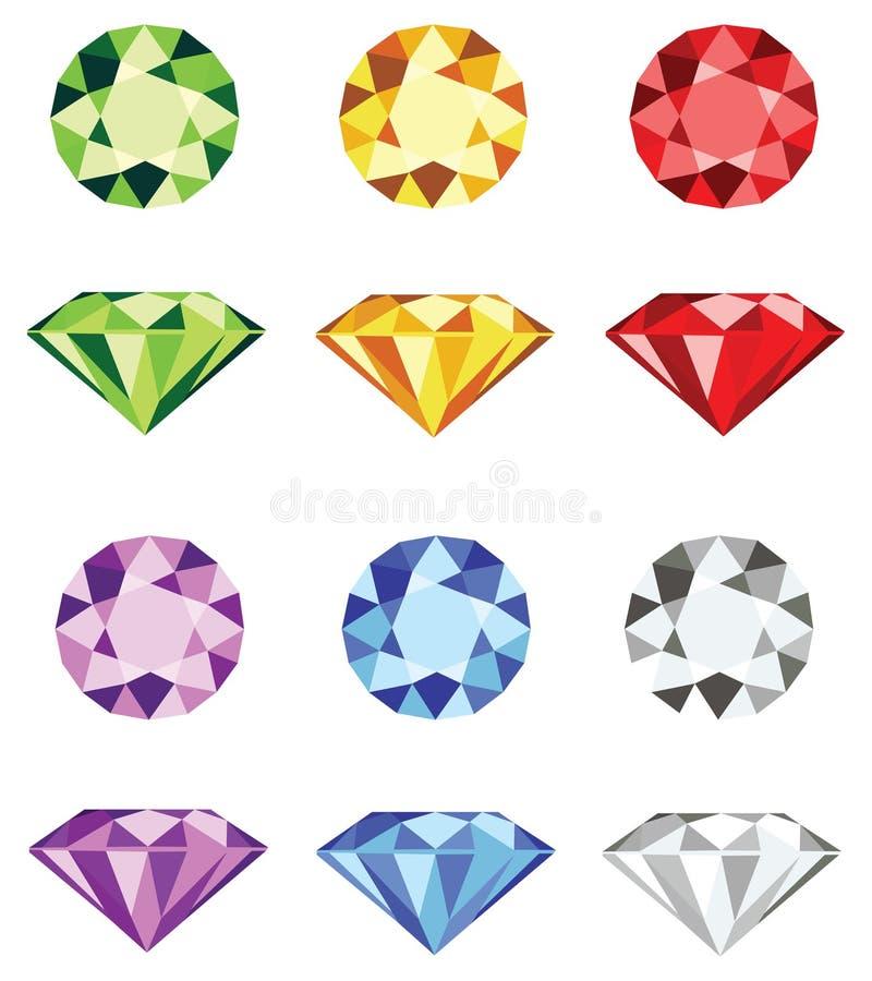 Halfedelstenen - de vector van de diamantbesnoeiing vector illustratie