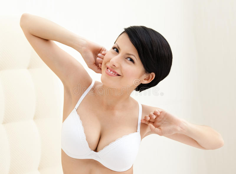 Halfnaked Woman Stretches Herself Stock Photo