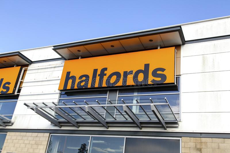 Halfords outlet for car accessories, bicycles and camping equipment. Swansea, UK: May 18, 2016: Halfords shop front. Halfords Group plc is a British retailer of stock image