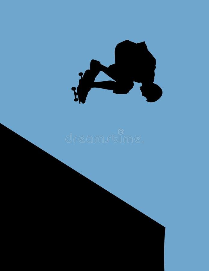 halfpipe舷梯溜冰板者 向量例证