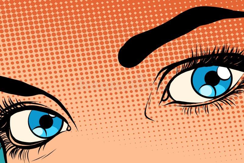 Halfton hermoso del efecto de la trama del ojo de la muchacha ilustración del vector