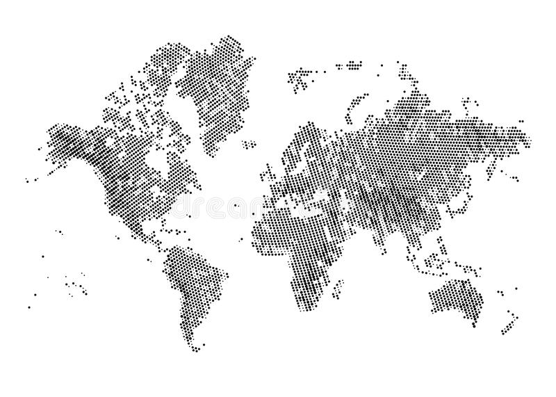 Halftone światowa mapa ilustracja wektor
