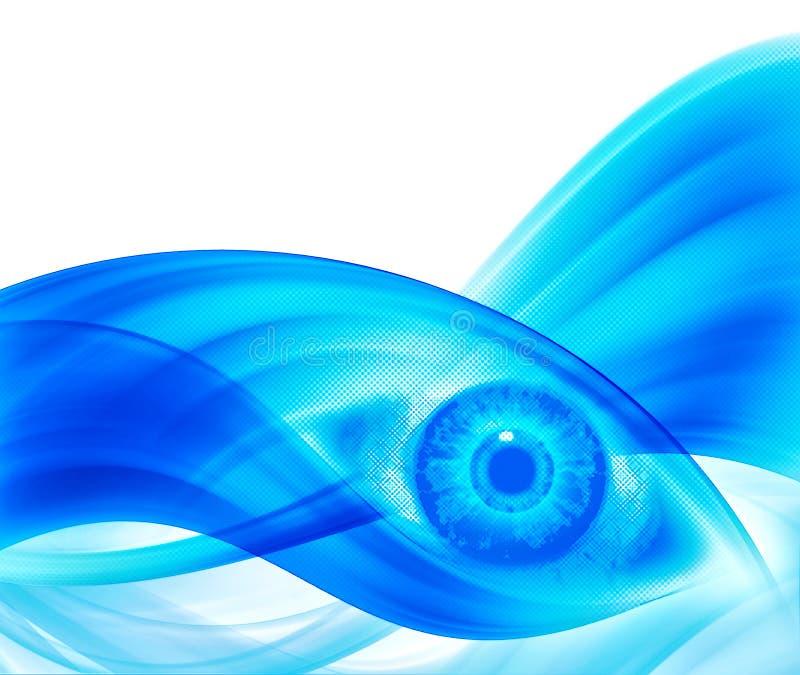 halftone голубого глаза предпосылки иллюстрация штока