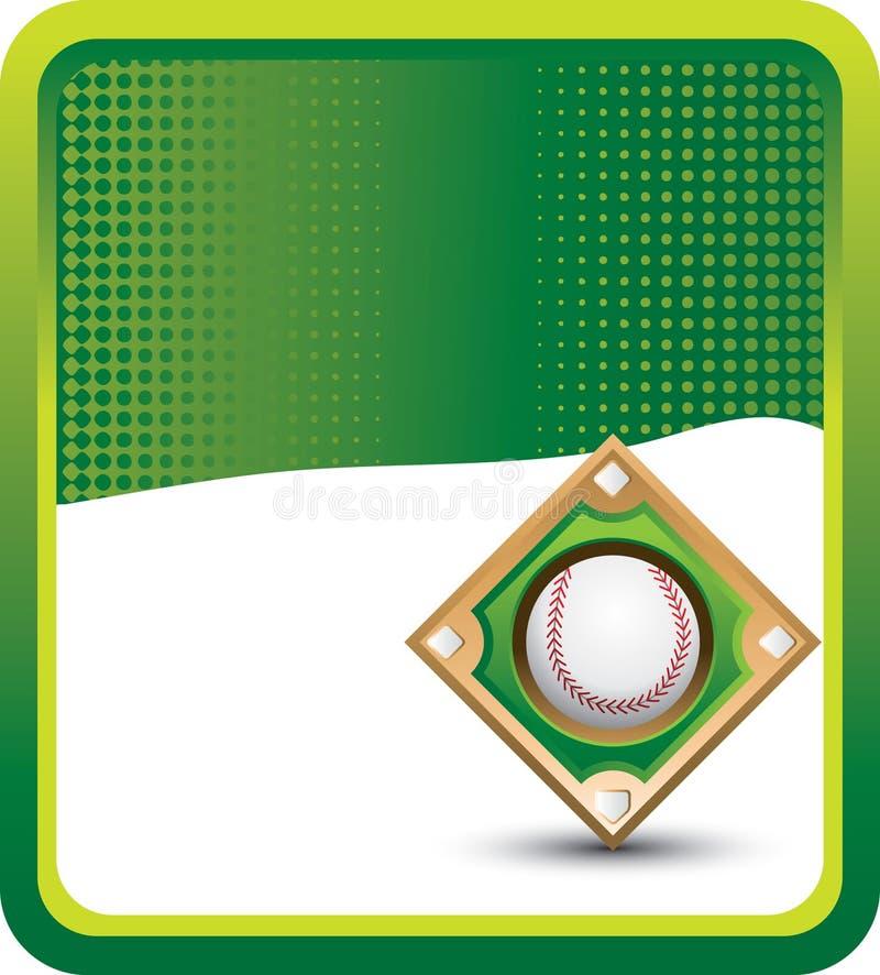 halftone диаманта зеленого бейсбола знамени иллюстрация штока