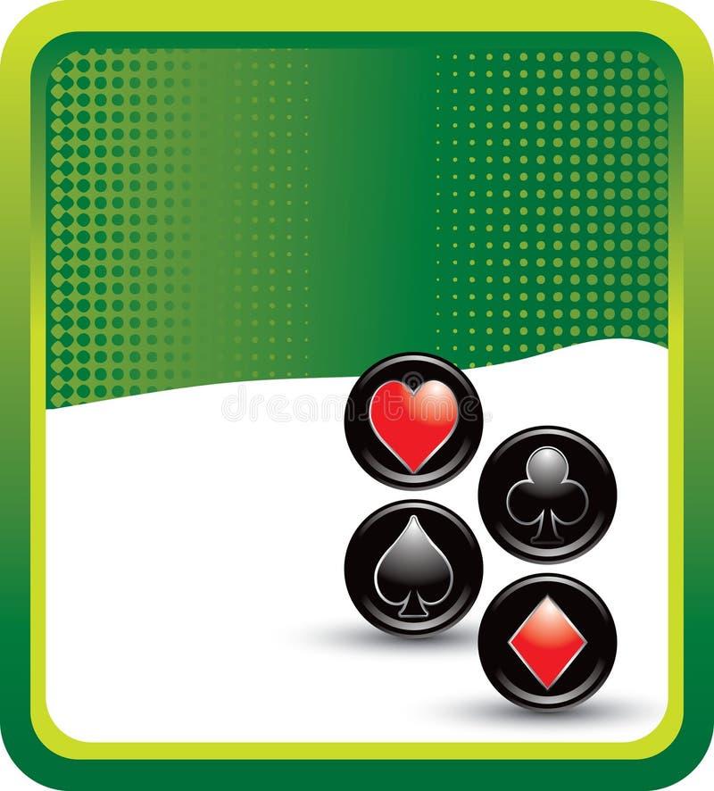 halftone зеленого цвета карточки рекламы играя костюмы иллюстрация вектора