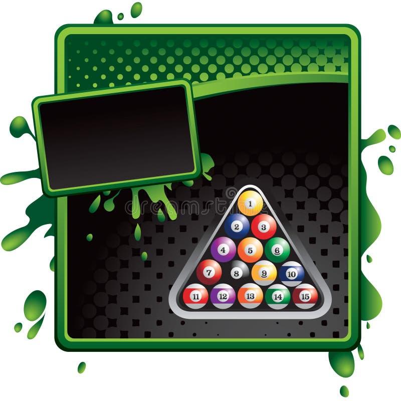 halftone зеленого цвета черноты биллиарда шариков объявления иллюстрация вектора