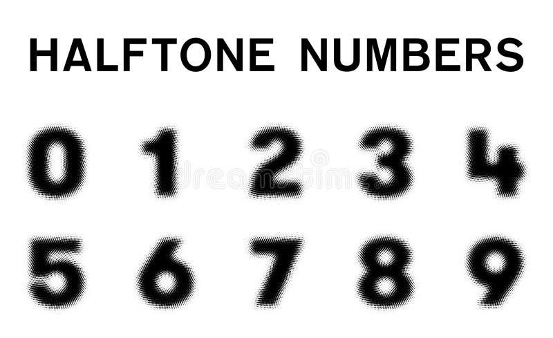 Halftone Aantallenvector Geïsoleerde Vlakte vector illustratie