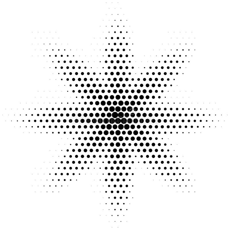 Halftone abstract spot. Vector dotted halftone effect gradient. Flower shape. Halftone abstract grunge spot. Vector dotted halftone effect gradient. Flower shape royalty free illustration