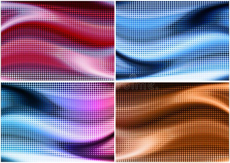 Kleuren halftone achtergronden royalty-vrije stock foto