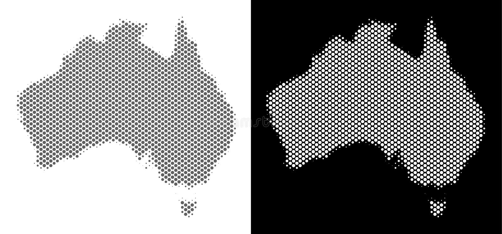 Halftone Australia Map. Halftone round spot Australia map. Vector territorial maps in gray and white colors on white and black backgrounds. Abstract mosaic of stock illustration