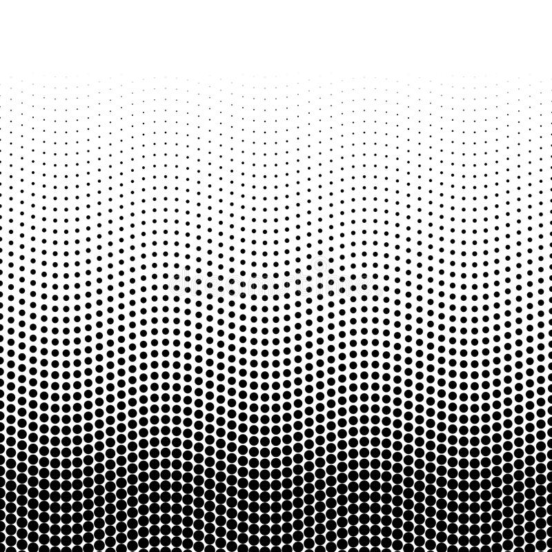 Halftone background of dots in wavy arrangement. Black-white bottom-top gradient. Abstract retro style vector wallpaper royalty free illustration