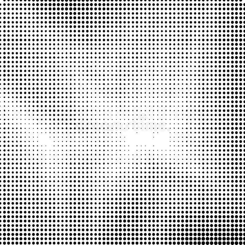 Halftone Background. Dotted Dirty Damaged Spotted Circles Pattern. stock illustration