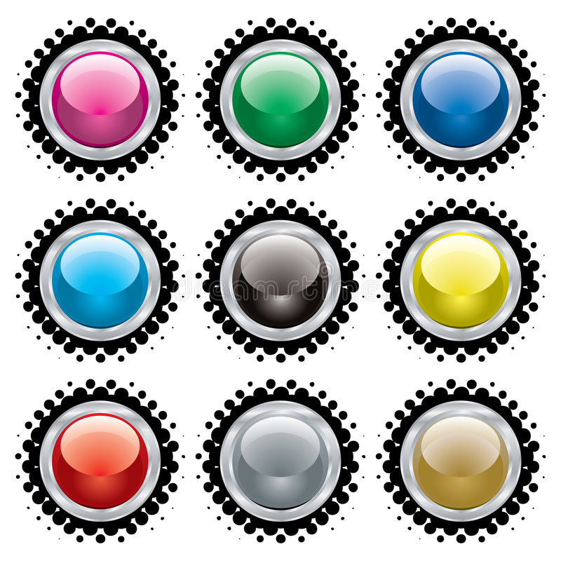 Download Halftone bevel button stock vector. Image of ball, crystal - 6411780