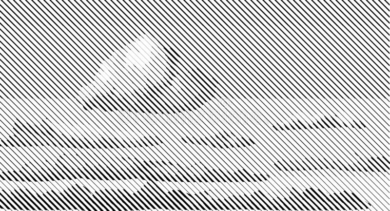 Halftone bitmap lines retro background Black White Heaven Sky Clouds. Clear stock illustration