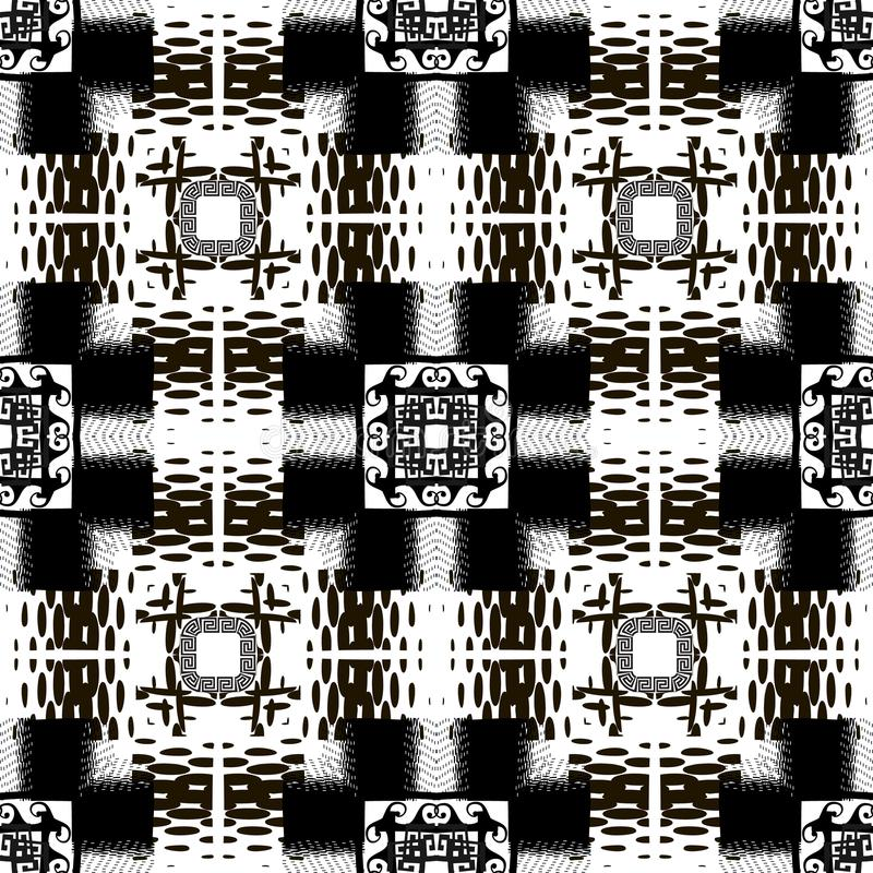 Halftone black and white modern vector seamless pattern. Greek ornamental half tone background. Greek key meanders checkered vector illustration