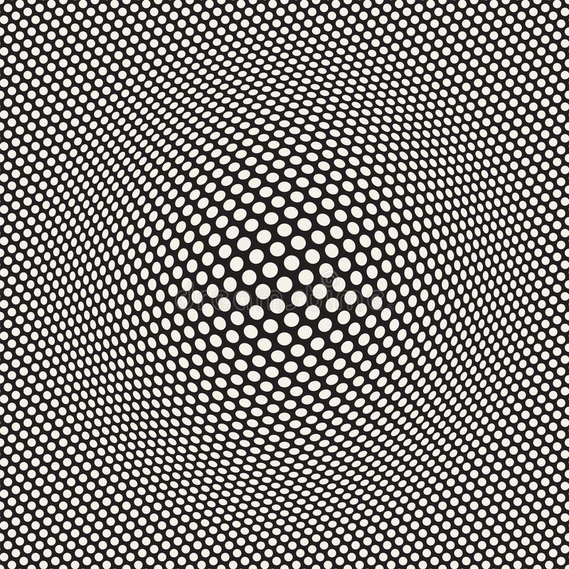 Halftone bloat effect optical illusion. Abstract geometric background design. Vector seamless retro pattern. royalty free stock photography
