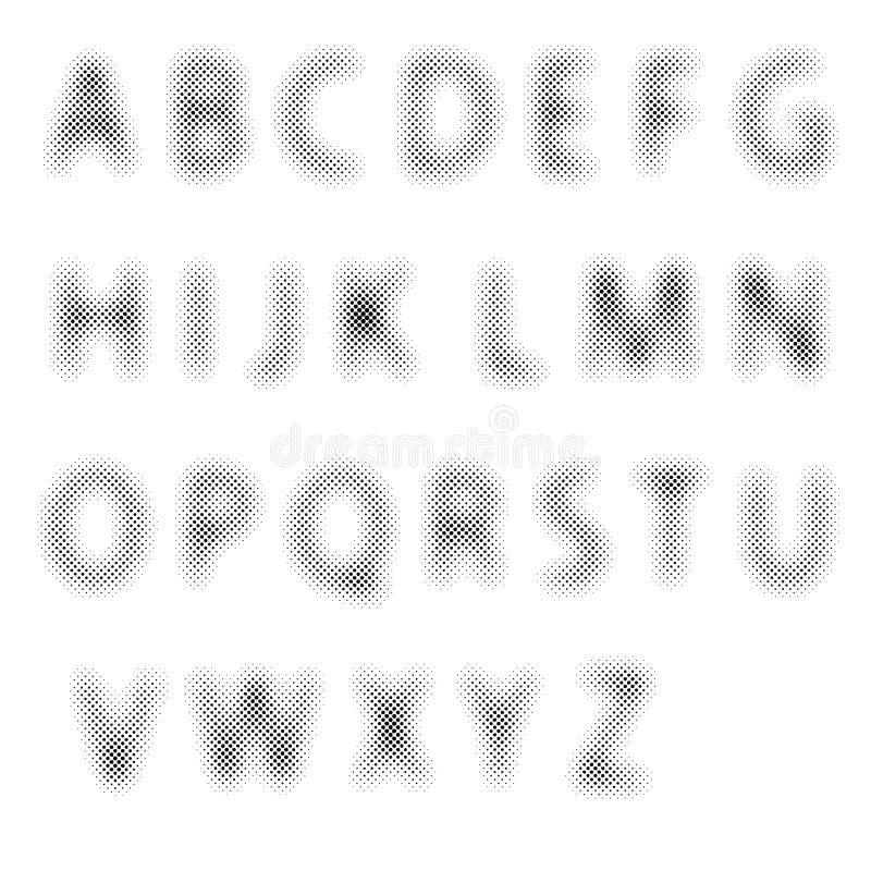 Halftone brieven royalty-vrije illustratie