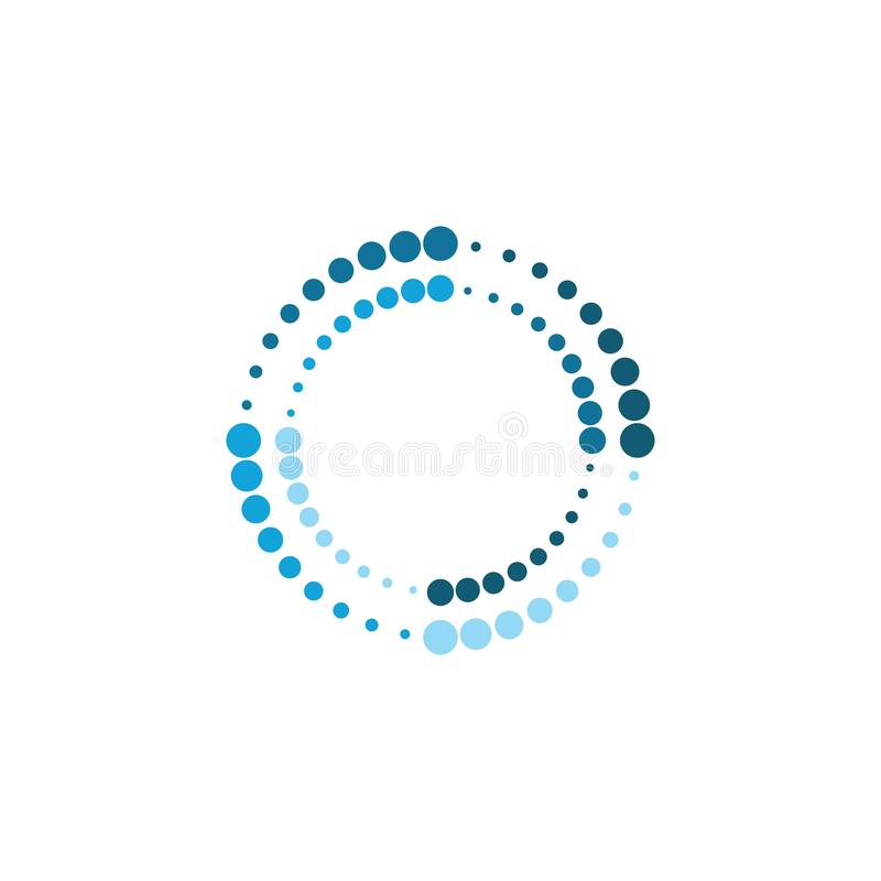 Halftone circle dots vector. Illustration design logo abstract icon dotted round circular science symbol graphic element shape modern background template art stock illustration