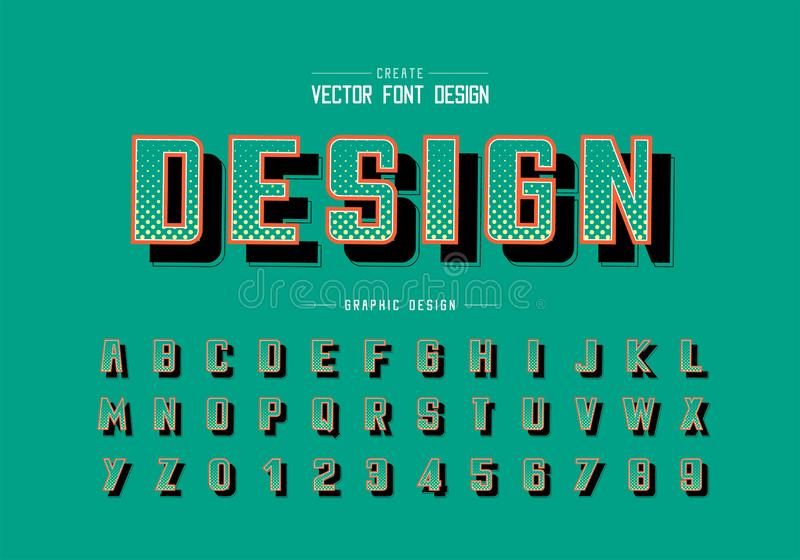 Halftone circle font and bold alphabet vector, Digital typeface and number design, Graphic text background royalty free illustration