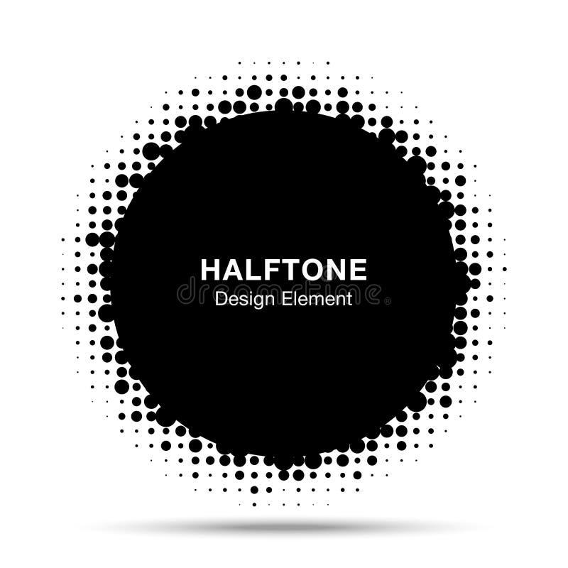 Halftone circle vector frame with black abstract random dots. Round border using halftone circle dots raster texture. vector illustration
