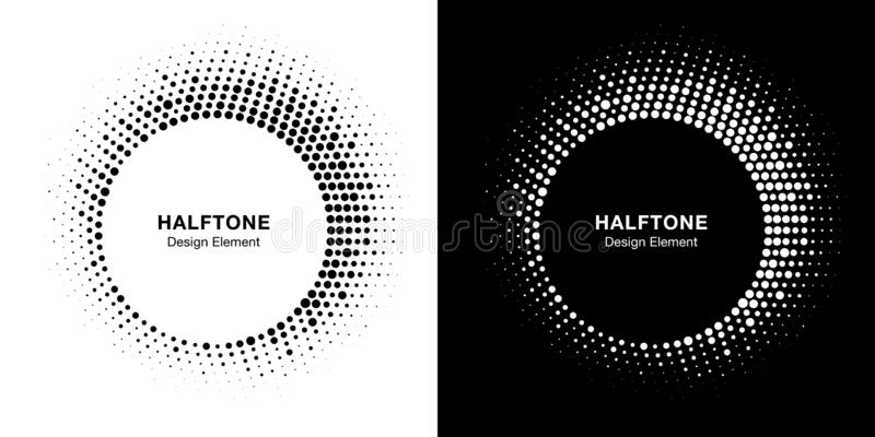 Halftone circle frame emblem design element. Round border halftone circle dots texture. Vector set. royalty free illustration