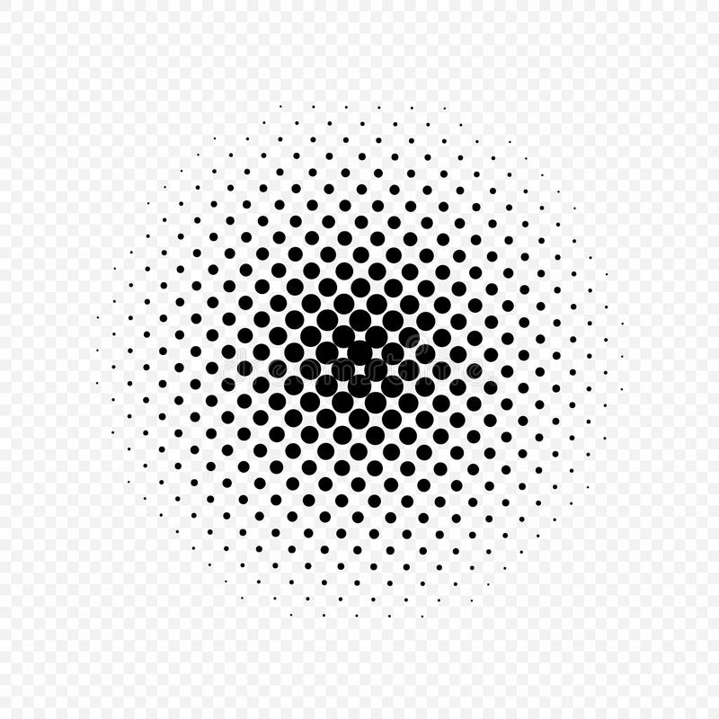 Halftone circles effect, dot pattern. Vector illustration. Isolated on transparent background. vector illustration