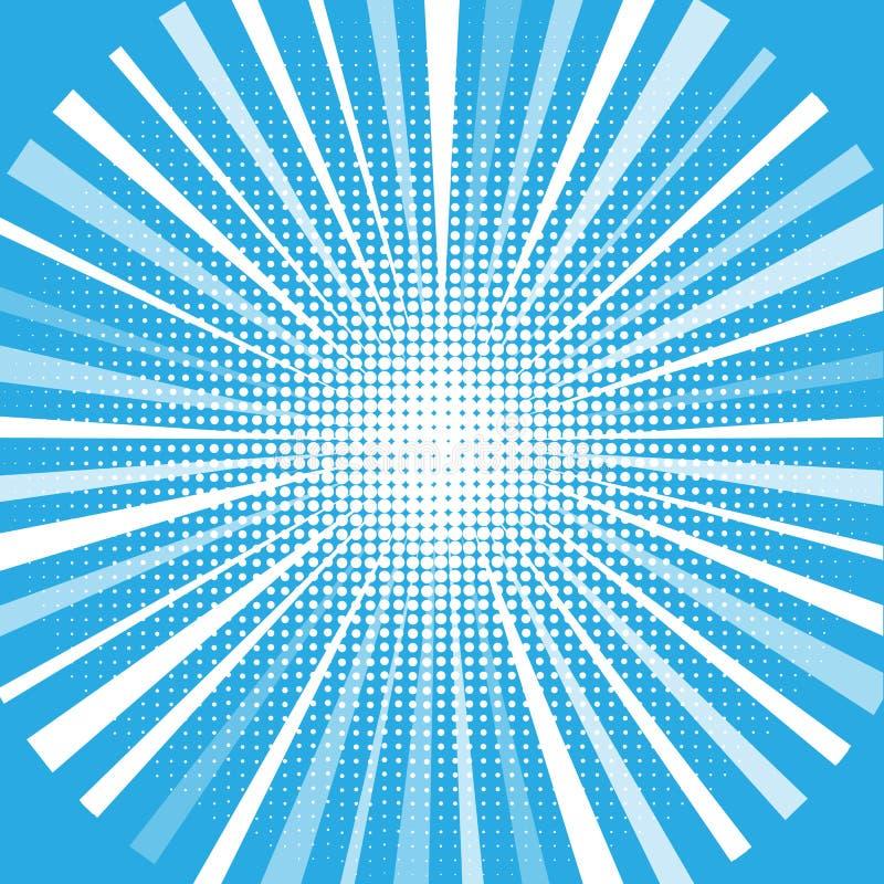 Halftone circles, halftone dot pattern. Starburst shape. Radiating, radial, merging lines. stock illustration