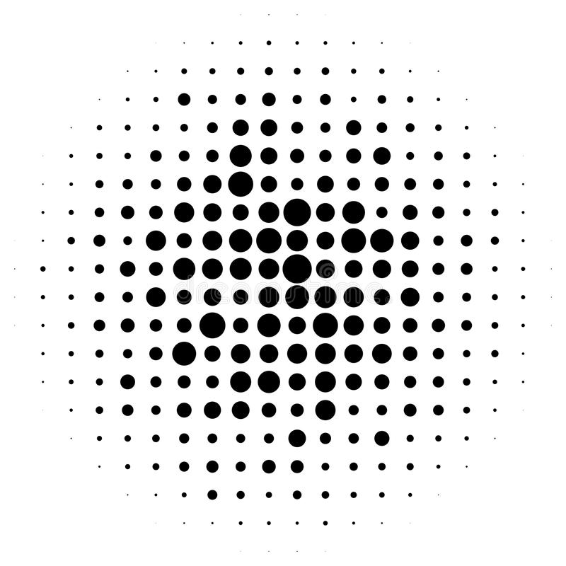 Halftone circles, halftone dots pattern. Monochrome half-tone royalty free illustration