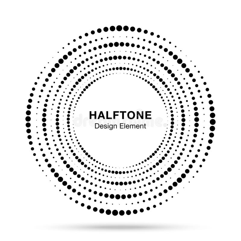Halftone circular vortex dotted frame. Circle swirl dots isolated on white background. Logo halftone texture. Vector vector illustration