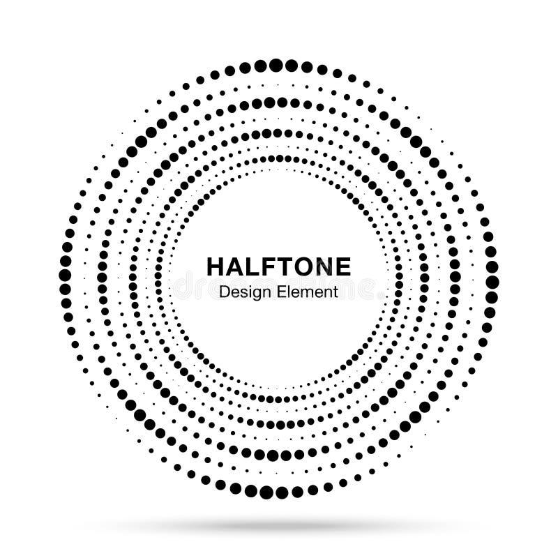Halftone cirkeldraaikolk gestippeld kader De punten van de cirkelwerveling op witte achtergrond worden geïsoleerd die Embleem hal vector illustratie