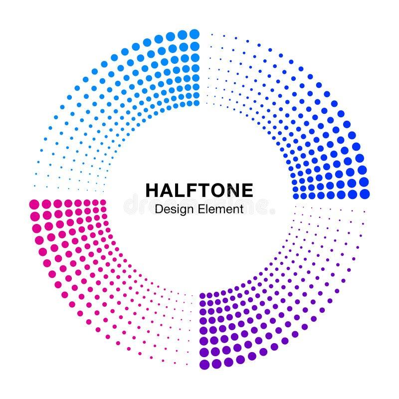 Halftone colorful circle frame abstract dots logo emblem design element. Half tone circular icon. Disc musical insignia. vector illustration