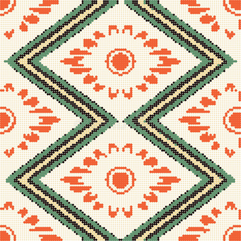 Halftone colorful seamless retro pattern rhomb check sawtooth cr. Oss frame orange flower can be used for both print and web page vector illustration