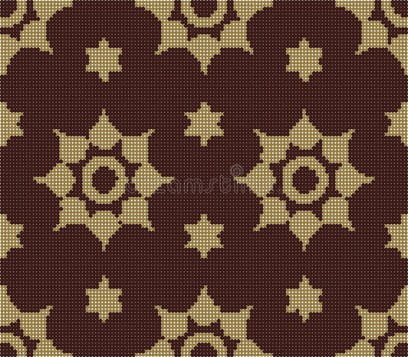 Halftone colorful seamless retro pattern vermillion star round. Flower can be used for both print and web page royalty free illustration